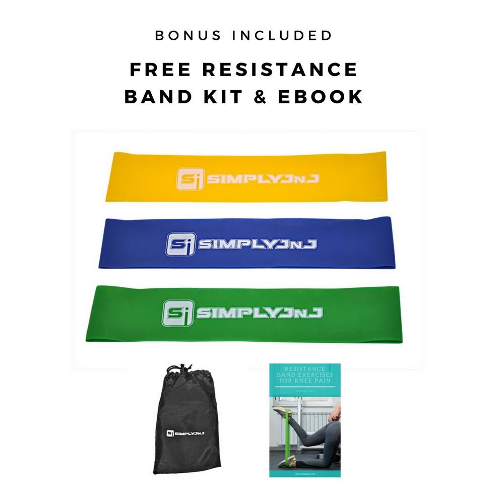 SimplyJnJ Adjustable Open Patella Knee Sleeve For Arthritis, Meniscus, Running, Basketball & More + Free Resistance Band Kit & eBook