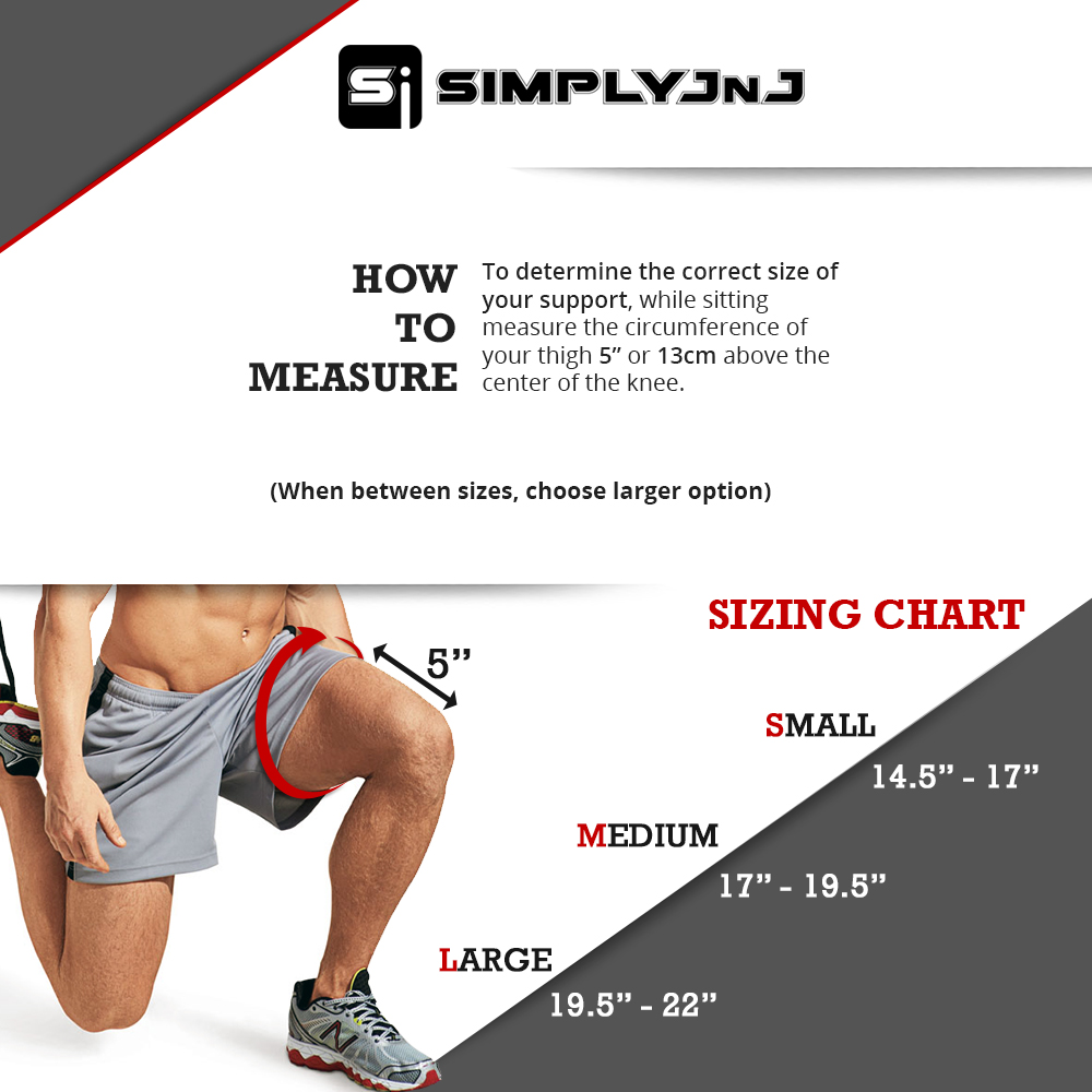 SimplyJnJ Open Patella Knee Sleeve w Flexible Side Stabilizer Stays and Removble Straps - Sizing Chart