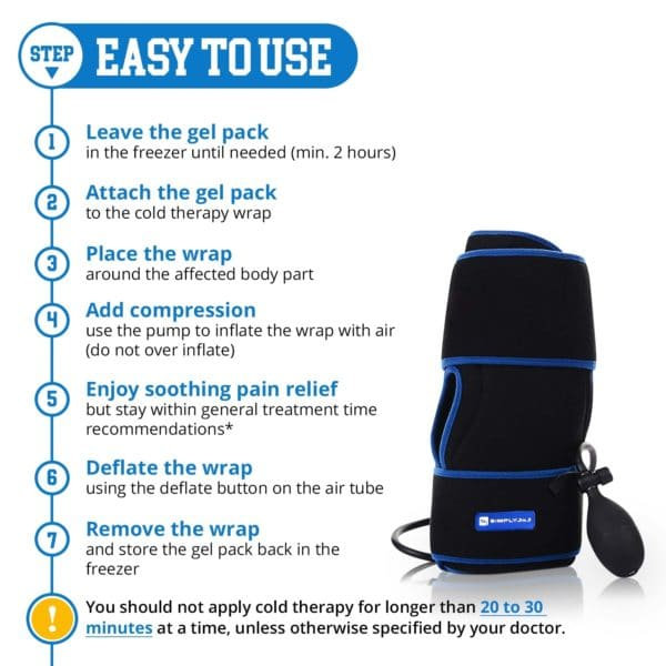 SimplyJnJ Cold Therapy Knee Wrap With Ice & Compression & 2 Ice Gel Packs - Infographic