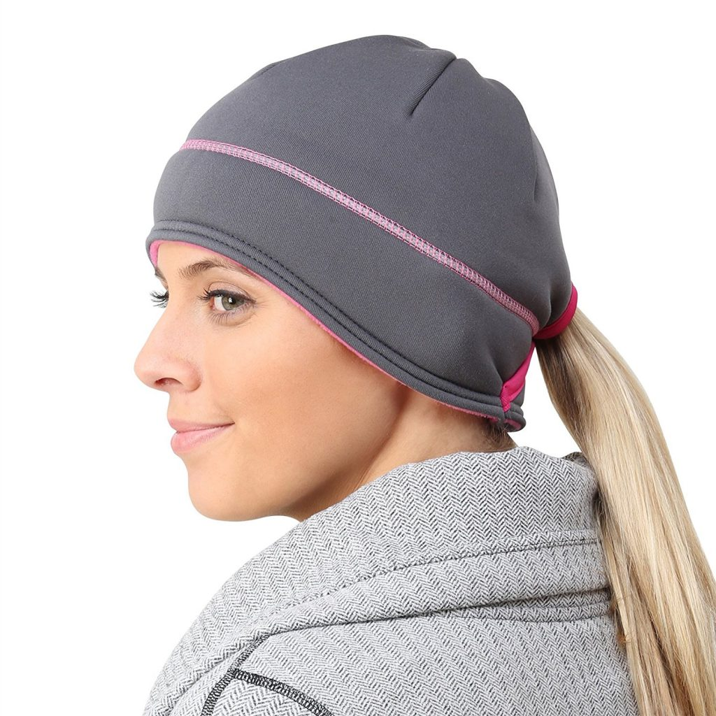 TrailHeads Women's Power Ponytail Hat - Reflective Winter Running Beanie - For Running in Cold Weather