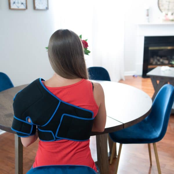 SimplyJnJ Shoulder Pain & Recovery Ice Wrap With Compression - Back View